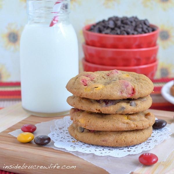 M&M Pumpkin Pudding Cookies