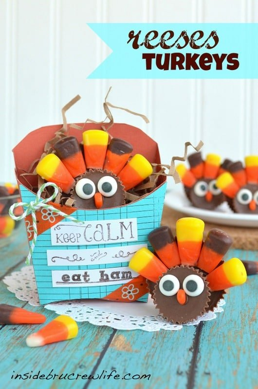 Two Reese's cups and candy corn make these cute turkeys