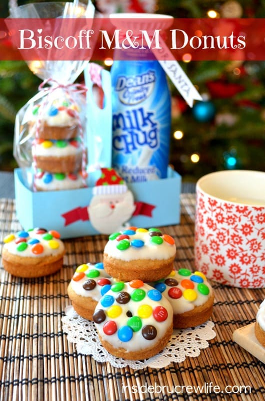 M&M donuts made with Biscoff spread, sweet recipes, dessert recipes