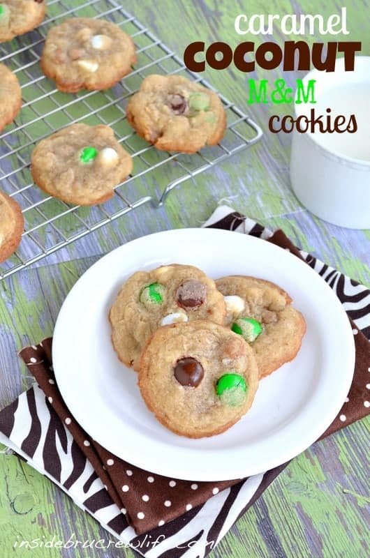 Caramel Coconut Cookies from www.insidebrucrewlife.com - these chocolate chip and coconut cookies are absolutely delicious