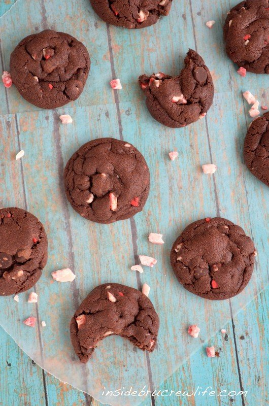These chocolate fudge cookies filled with peppermint crunch chips will not last long.