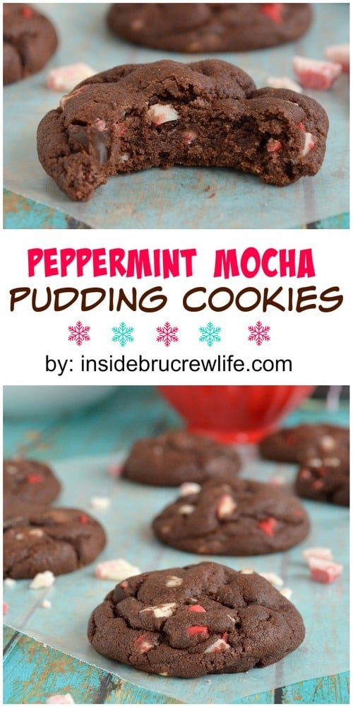 Peppermint Mocha Pudding Cookies - these easy chocolate cookies are full of chocolate and peppermint goodness!  Great recipe for Christmas or holiday parties!!