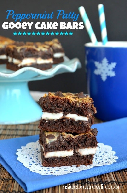 Peppermint Patty Gooey Cake Bars - layering peppermint patties and cake bars is the way to have one decadent dessert recipe!