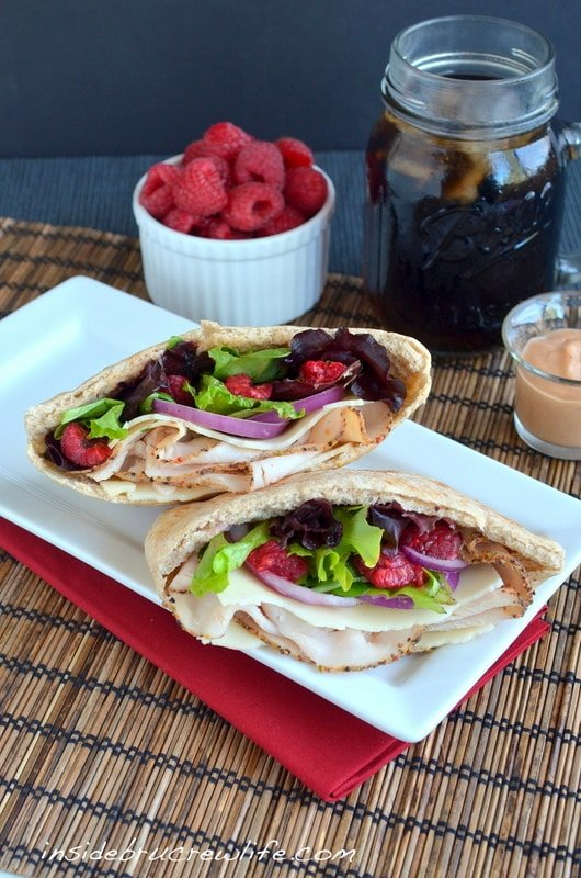 Raspberry Chipotle Turkey Pocket - turkey with lettuce, onion, and raspberry chipotle sauce www.insidebrucrewlife.com