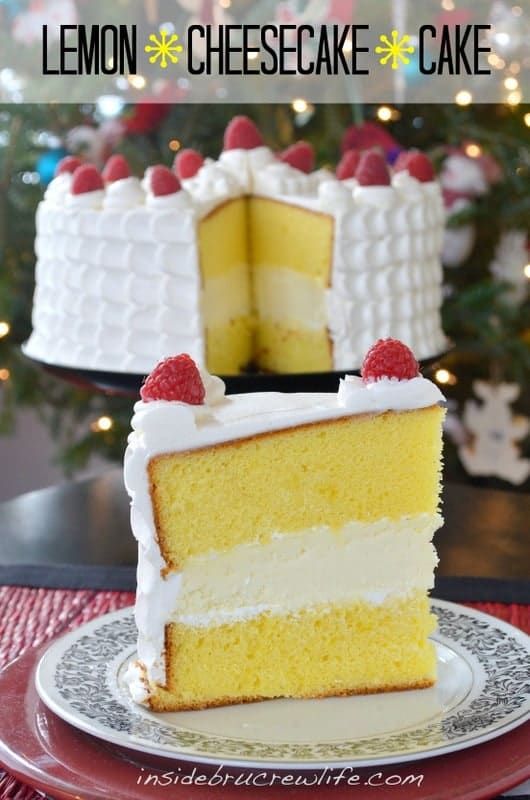 Lemon cake layers filled with a vanilla cheesecake makes an impressive holiday cake.