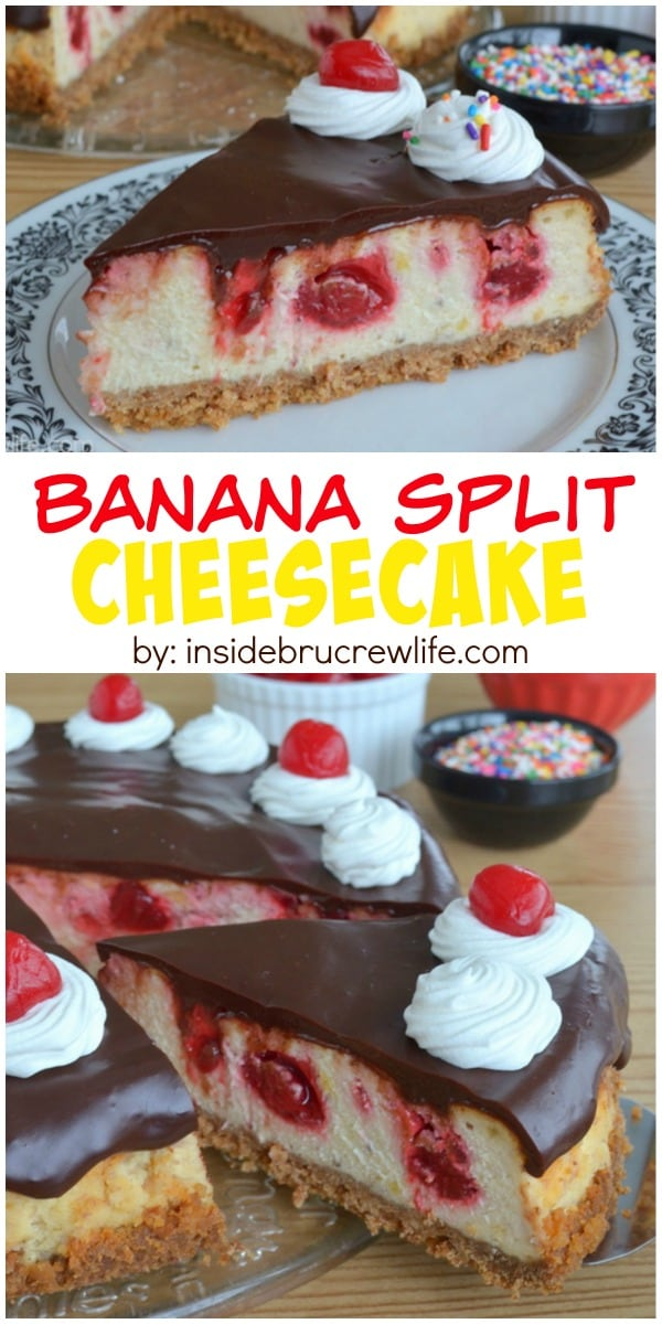 Banana cheesecake swirled with strawberry pie filling and topped with chocolate ganache.  This is amazing!