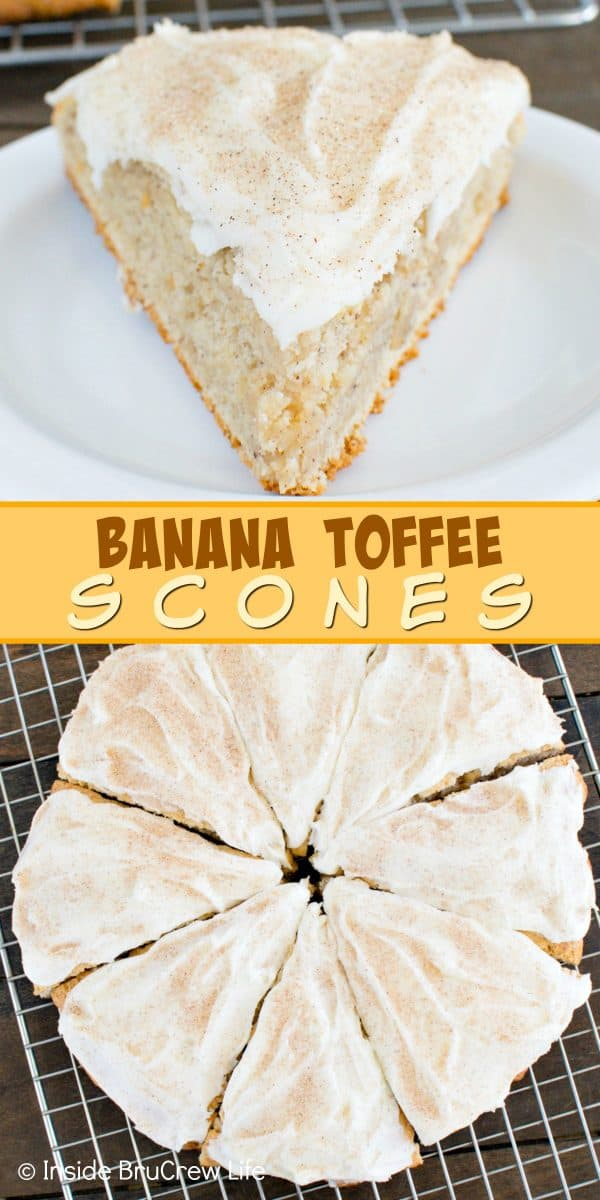 Banana Toffee Scones - these soft and flakey banana scones have toffee bits inside and cinnamon sugar frosting. Make this awesome recipe for breakfast or brunch. #banana #scones #breakfast #toffee