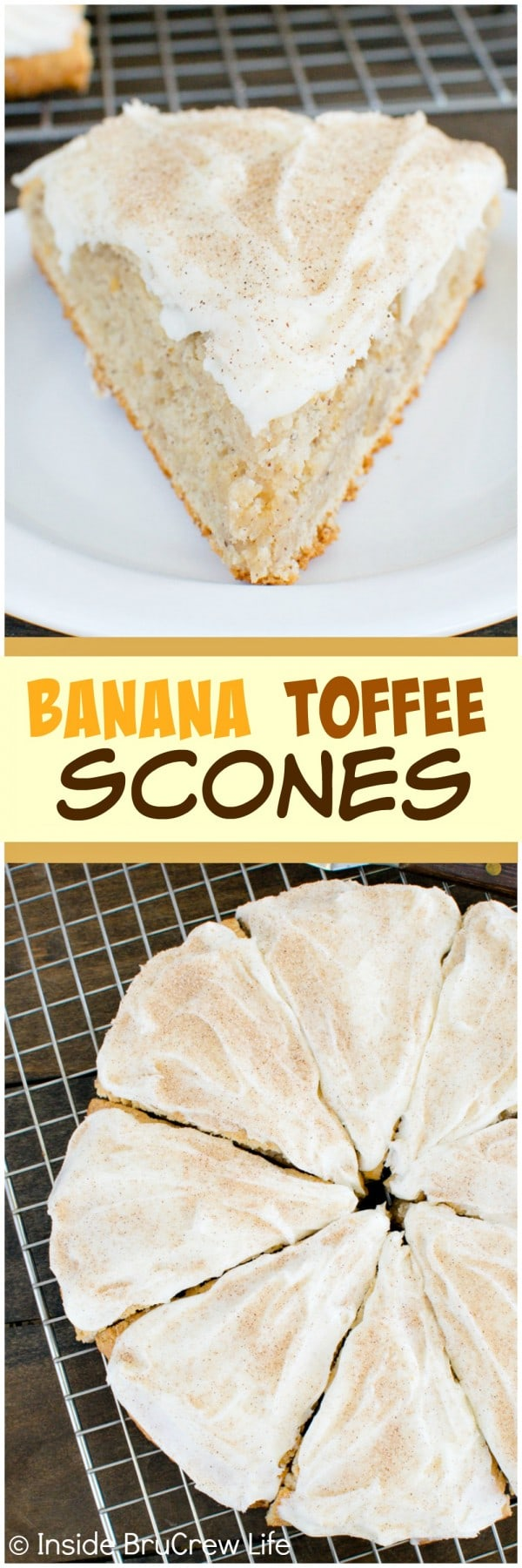 Banana Toffee Scones - these soft and flakey banana scones have toffee bits and cinnamon sugar frosting. Awesome breakfast recipe!