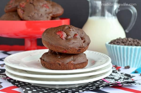 Low Fat Chocolate Cherry Muffin Tops