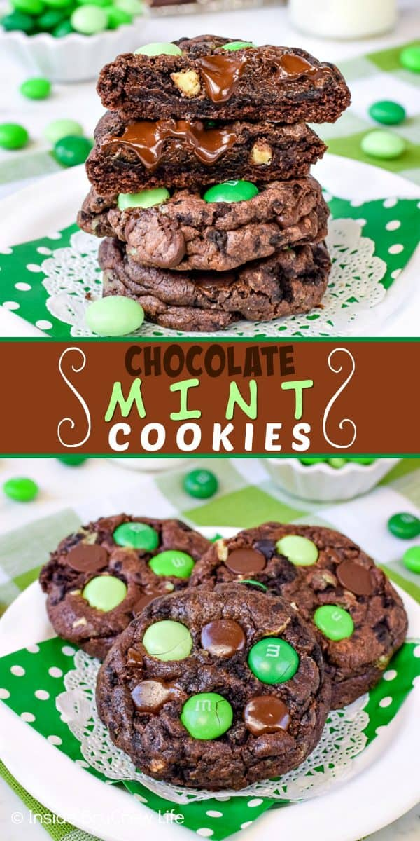 Chocolate Mint Cookies - adding mint candies and cookies to a chocolate cake mix cookie makes this dessert disappear in a hurry. Make this easy recipe for your cookie jar! #cakemix #chocolate #cookie #mint #cakemixcookies #cookiejar #andesmintchips