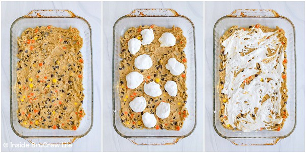 Three pictures collaged together showing the batter and marshmallow fluff in a pan