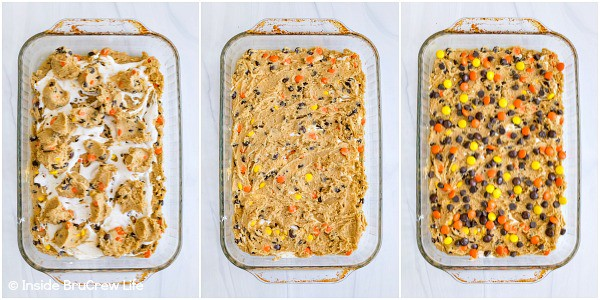 Three pictures collaged together of peanut butter blonde brownie batter in a pan with marshmallow, chocolate chips, and Reese's Pieces on top