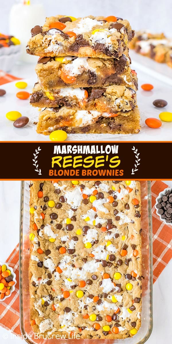 Two pictures of Marshmallow Reese's Blonde Brownies collaged together with a dark brown text box