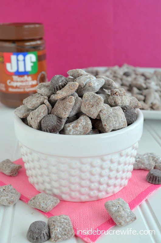 This fun puppy chow/muddy buddies has a fun mocha twist to it.  Be careful or you will eat the entire batch!