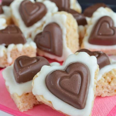White Chocolate Reese's Rice Krispie Hearts
