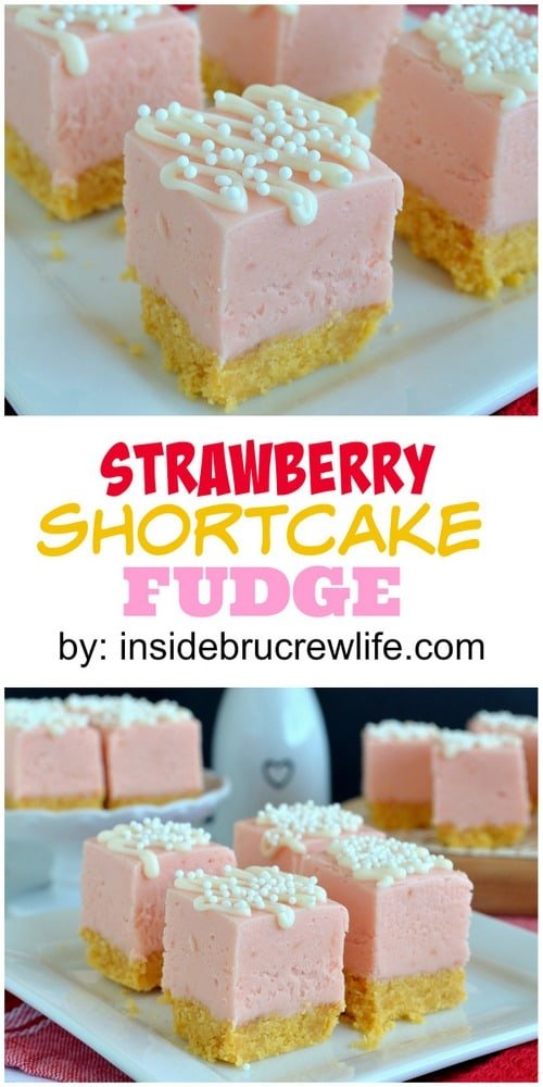 Two pictures of strawberry shortcake fudge collaged together with a white text box