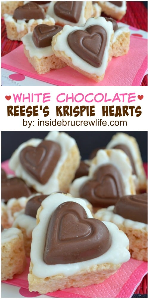 White Chocolate Reese's Krispie Hearts - these easy no bake treats are topped with white chocolate & a peanut butter cup heart! Great Valentine's day recipe!