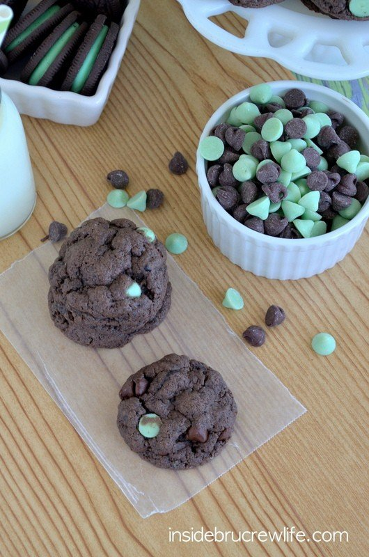Chocolate Mint Cookies using cake mix
