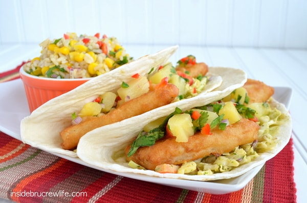 Citrus Fish Tacos - easy fish tacos using frozen fish and veggies