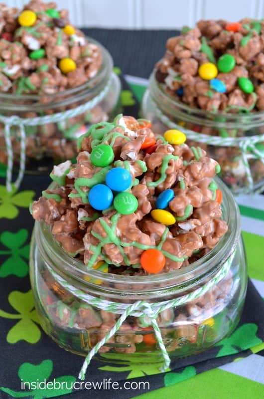 This fun sweet and salty popcorn has plenty of Nutella and M&M candies.