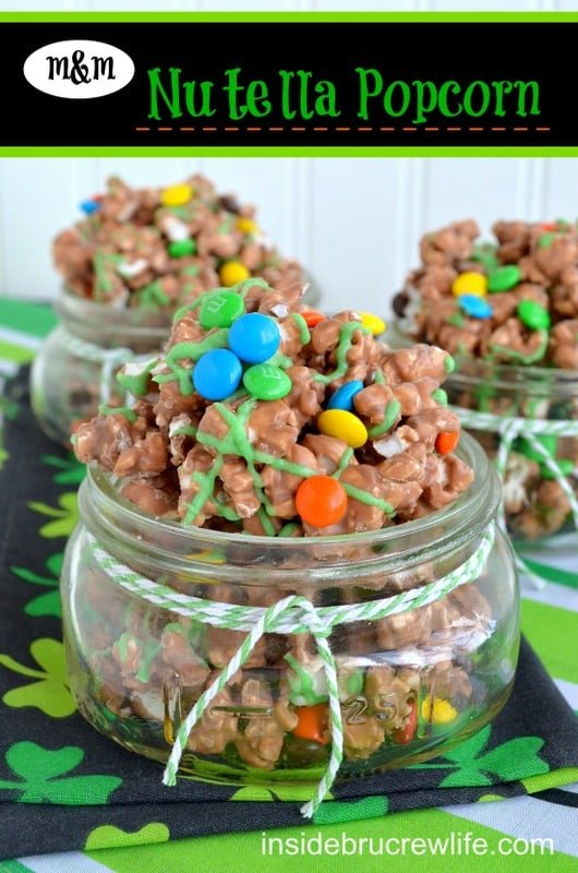 Nutella and M&M candies make this popcorn disappear in a hurry!