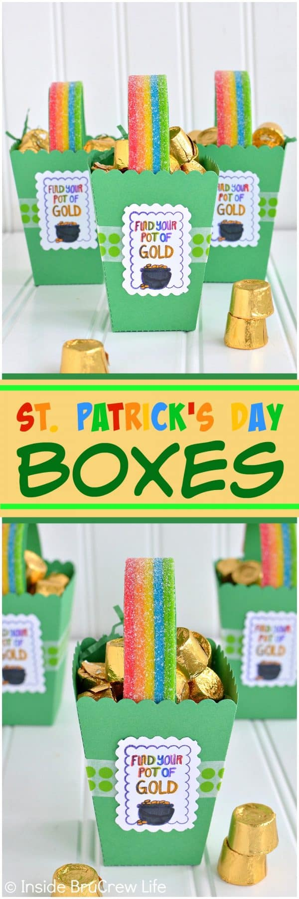 St. Patrick's Day Boxes - cute paper popcorn boxes filled with gold covered chocolate and rainbow candy handles. Great craft to make for St. Patrick's day parties. #rainbow #papercrafts #popcornbox #stpatricksdaycrafts #rainbowtreats #stpatricksdaytreats #potofgold