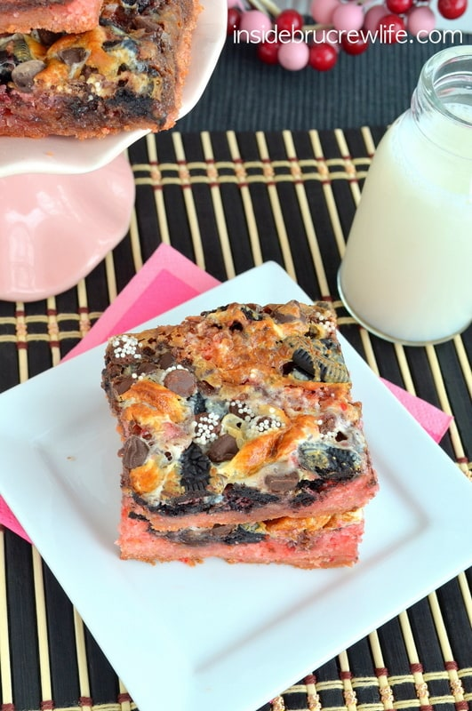 Strawberry Fudge Magic Bars - chocolate and strawberry in a delicious magic bar