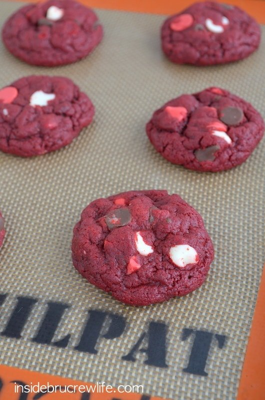 Triple Chip Red Velvet Cookies - red velvet cake mix cookies with three kinds of chocolate chips  www.insidebrucrewlife.com