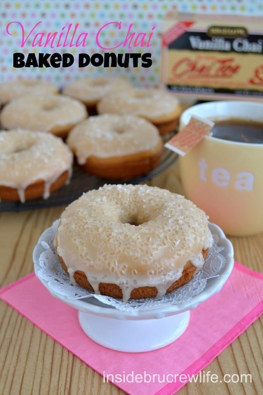 These baked donuts are have vanilla chai tea in the donut and the glaze on top. They are such a fun donut for breakfast.