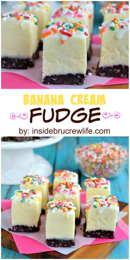 Easy banana fudge with chocolate cookie crust and sprinkles for a fun flair!