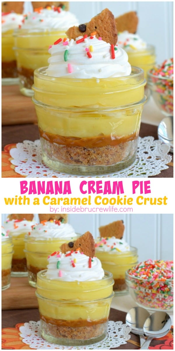 Cookies and caramel make a delicious crust to these easy no bake banana cream pies. Serve them in jars for a cute dessert!