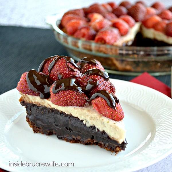 Banana Split Brownie Pie - cheesecake, brownies, and fresh berries make the best pie recipe around!