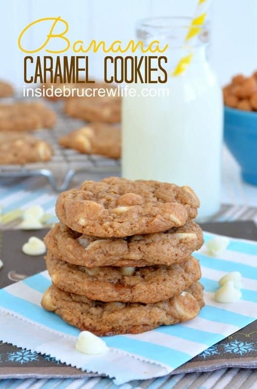 Banana Caramel Cookies from http://www.insidebrucrewlife.com - easy cake mix cookies made with bananas