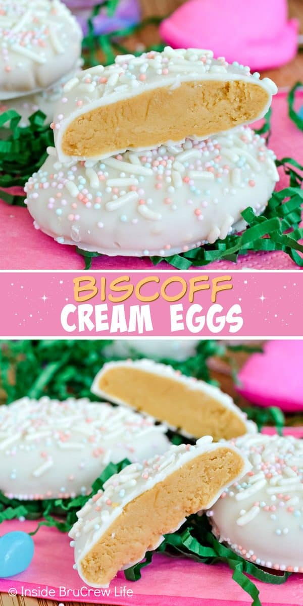 Biscoff Cream Eggs - these homemade cream eggs have a sweet cookie butter center and are dipped in white chocolate. Make this easy no bake recipe for Easter baskets this year! #biscoff #eastereggs #homemadecandy #nutfree #easter