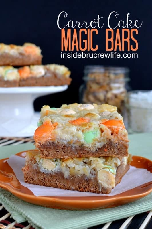 Carrot Cake Magic Bars - all the flavors of a carrot cake in a gooey magic bar. Great Easter dessert recipe.