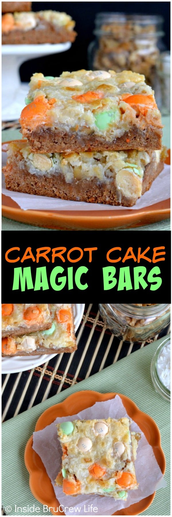 Carrot Cake Magic Bars - these fun gooey bars are loaded with pineapple, nuts, and candy. Great Easter dessert recipe.