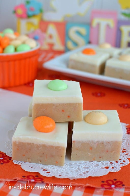 This carrot cake batter fudge topped with cream cheese fudge is an absolutely fun treat for the Easter table this year.