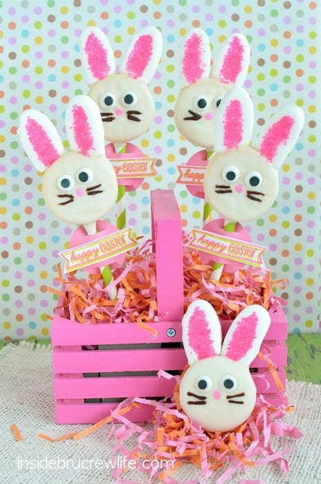 This cute basket of Oreo Bunny Pops would make a great Easter centerpiece.
