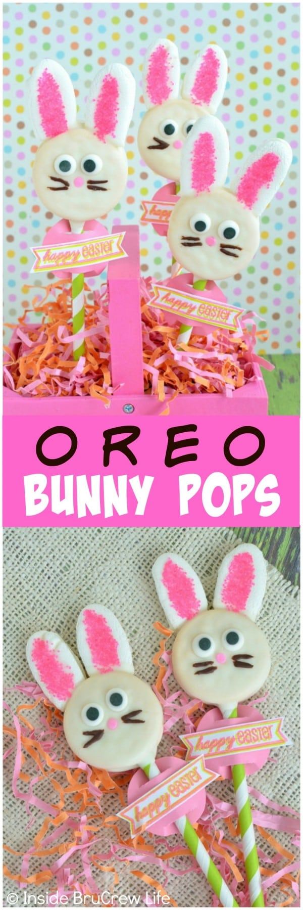 Oreo Bunny Pops - chocolate covered cookies with marshmallow ears. These are cute for an Easter centerpiece.