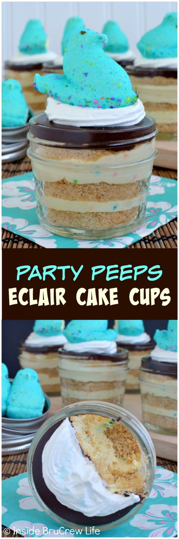 Party Peeps Eclair Cake Cups - layers of cake batter pudding, graham crackers, & pudding makes these a fun Easter dessert recipe.