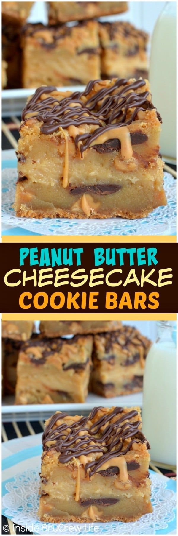 Peanut Butter Cheesecake Cookie Bars - peanut butter cookies layered with peanut butter cheesecake and chocolate make this perfect for the peanut butter lover! Awesome dessert recipe!