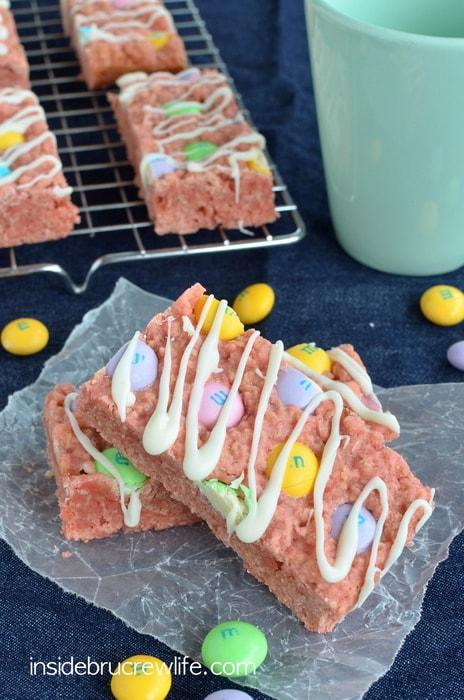 Strawberry M&M Granola Bars, white chocolate M&M's, Strawberry Quik
