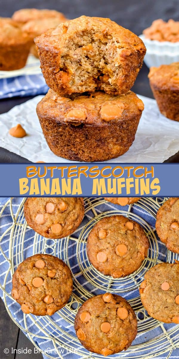 Butterscotch Banana Muffins - these soft and fluffy banana muffins have a sweet flavor from the butterscotch chips. Try this easy recipe for breakfast or for an after school snack. #banana #muffins #butterscotch #breakfast #afterschooolsnack