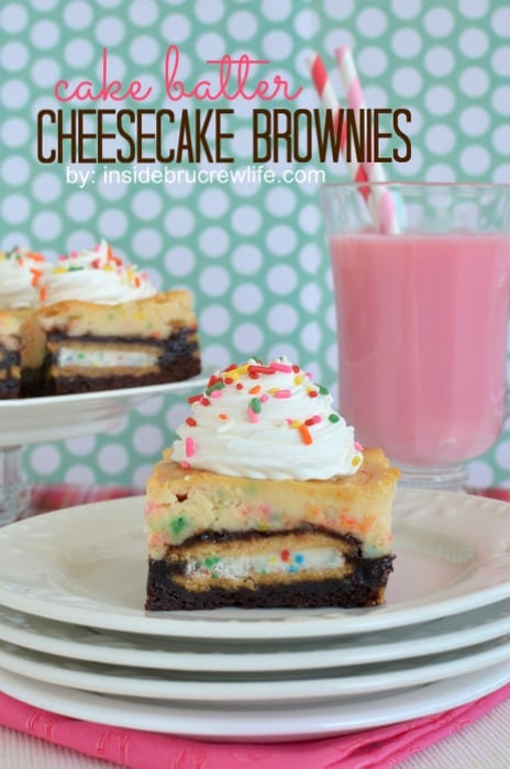 Cake Batter Cheesecake Brownies - Oreo brownies topped with a cake batter cheesecake is perfect for celebrating anything  http://www.insidebrucrewlife.com