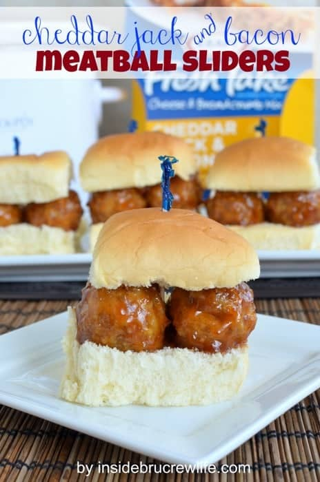 Cheddar Jack & Bacon Meatball Sliders - ground chicken and a Kraft ...
