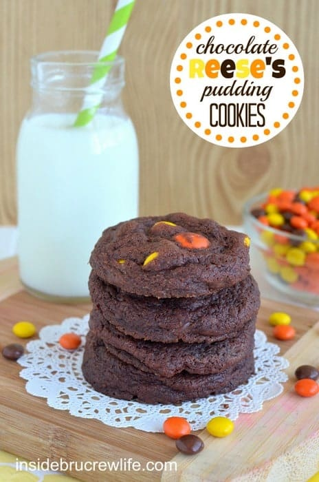 Chocolate Reese's Pudding Cookies - soft chocolate cookies with plenty of Reese's Pieces to satisfy your chocolate cravings