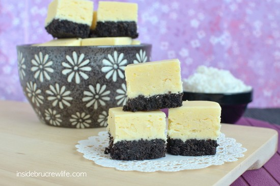 Coconut fudge on a chocolate cookie crust