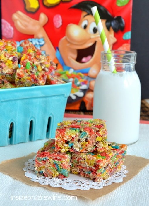 Fruity Pebbles Granola Bars, Post cereal, Fruity Pebbles, no bake,