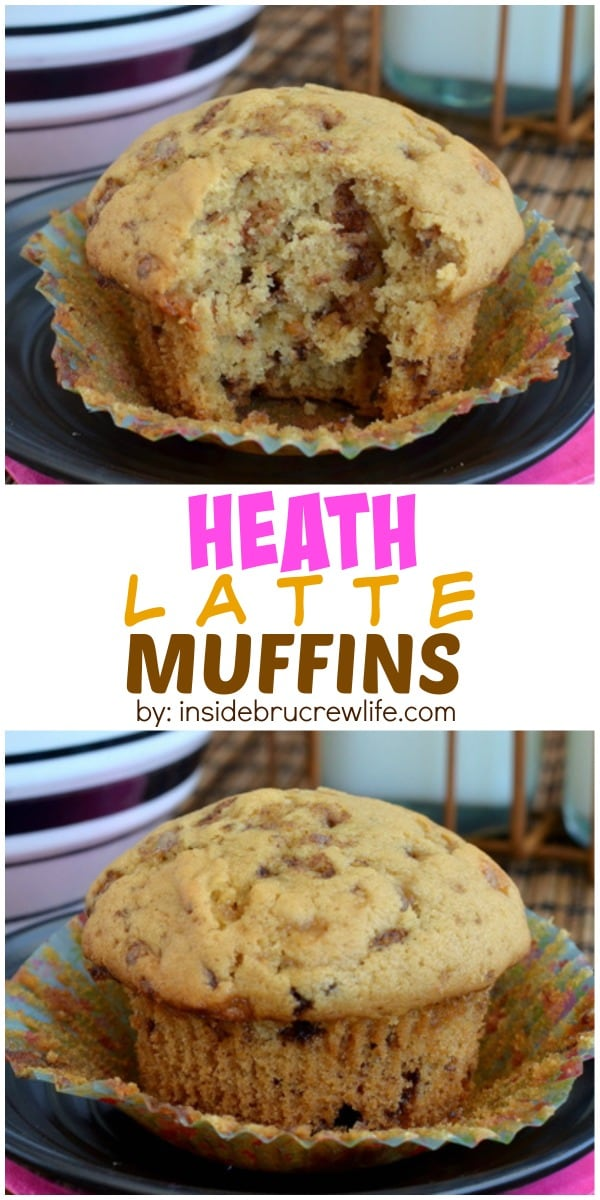 Coffee and toffee bits in these delicious muffins will help get you moving in the morning!  Be prepared for the entire batch to get gobbled down.