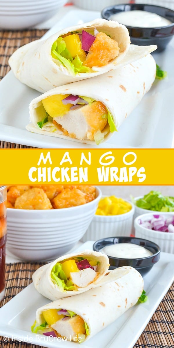Two pictures of mango chicken wraps collaged together with a yellow text box